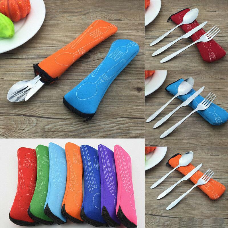 Ourdoor Tableware Cutlery-Tools Fork-Spoon Stainless-Steel Travel Camping Chopsticks