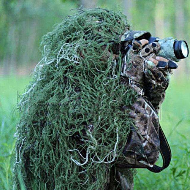 Odkryty 80*90cm wojskowy kamuflaż dżungli kapelusz czapka myśliwska strój ghillie kapelusz Camo czapki dla Sniper Hunt Deer tanie i dobre opinie NoEnName_Null Unisex Pasuje prawda na wymiar weź swój normalny rozmiar Syntetyczny Grass green