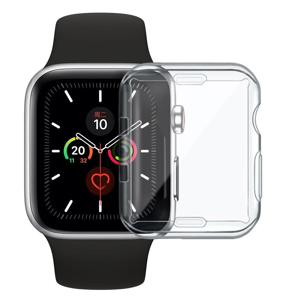 Тонкий чехол для Apple Watch Series 6 5 4 3 2 1 SE, силиконовый чехол для iWatch 38 40 42 44 мм, прозрачная защитная пленка из ТПУ