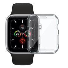Fino caso completo para apple assistir série 6 5 4 3 2 1 se silicone capa para iwatch 38 40 42 44mm claro tpu protetor de tela