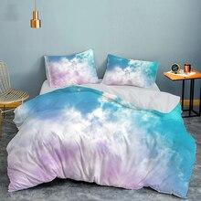 Комплект постельного белья из мягкого хлопка и льна, двуспальный комплект с белым, розовым, черным небом, пододеяльник, королевская двуспал...