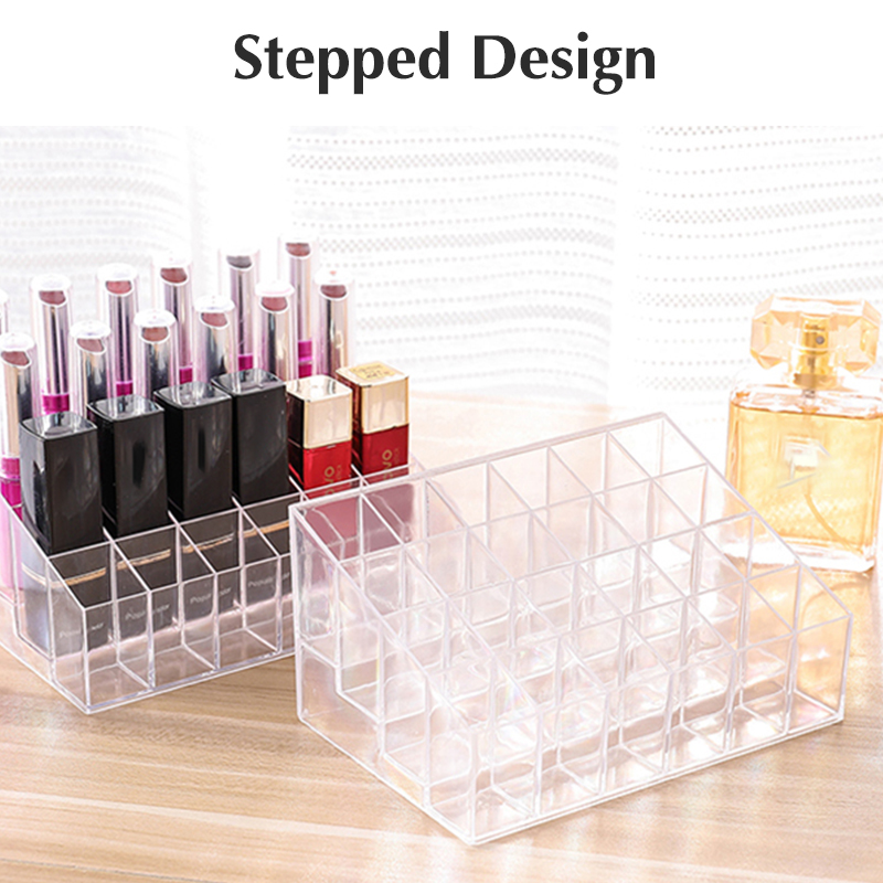 24 Grid Acrylic Makeup Organizer Storage Box Cosmetic Box Lipstick Jewelry Box Case Holder Display Stand Make Up Organizer