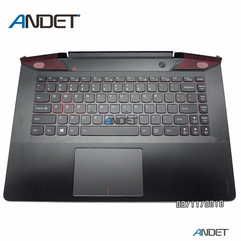 Original New For <font><b>Lenovo</b></font> ideapad <font><b>Y700</b></font> 14 <font><b>Y700</b></font>-14 <font><b>Y700</b></font>-14ISK Palmrest Upper <font><b>Case</b></font> Cover Keyboard KB Touchpad AP1F6000300 US image