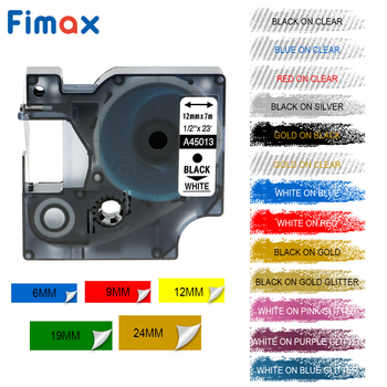 Fimax Compatible for Dymo D1 Label Printer Ribbons Tape 45013 12mm Multi Color for DYMO D1 Label Maker Label Printers Manager