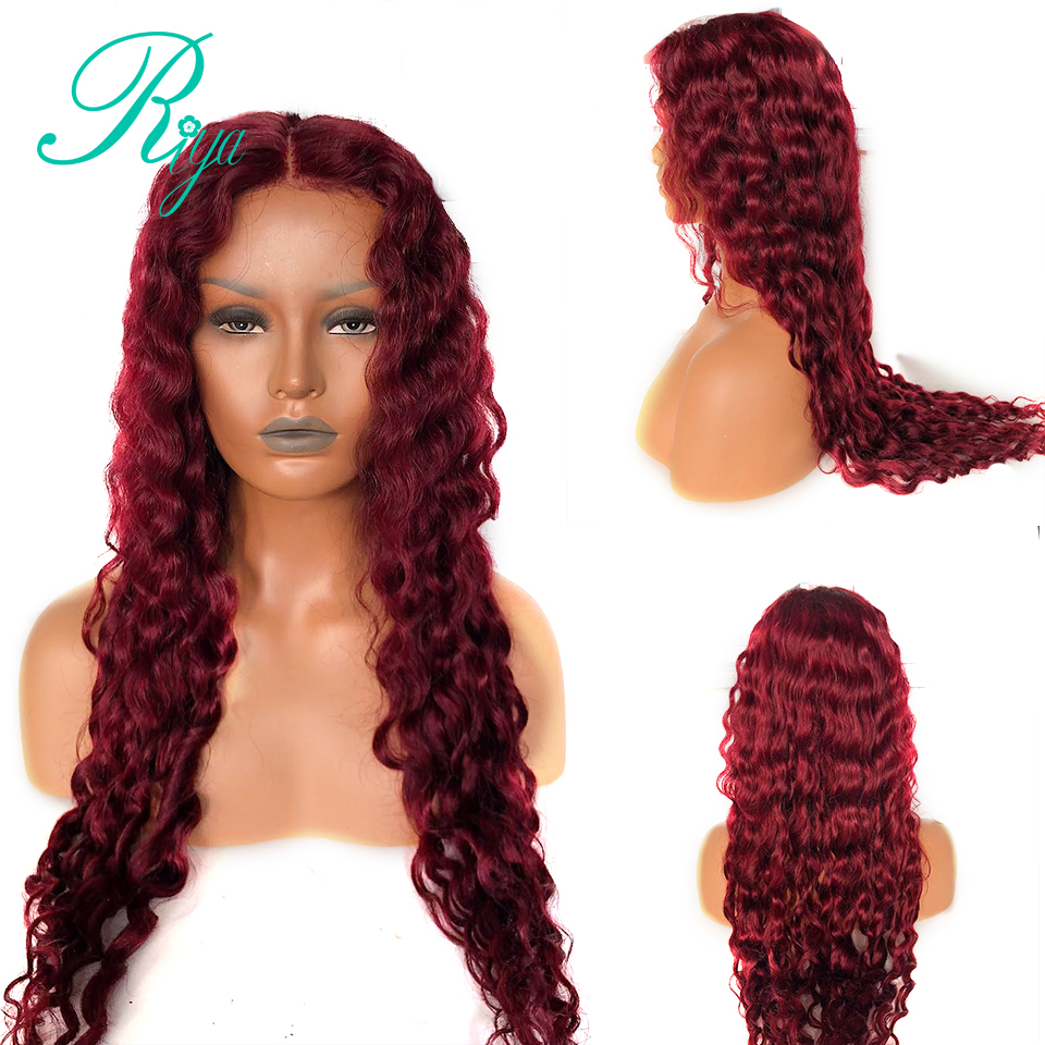 13X6 Deep Part Invisible Red Burgundy 99J Color Curly Lace Front Human Hair Wigs Closure PrePlucked Lace Wig Brazilian Remy Hair