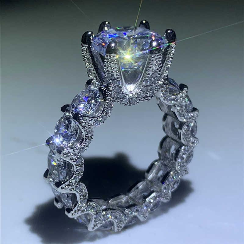 Винтажное кольцо в форме цветка, кольцо на палец, серебро 925 пробы, AAAAA cz, обручальное кольцо для женщин, вечерние ювелирные изделия
