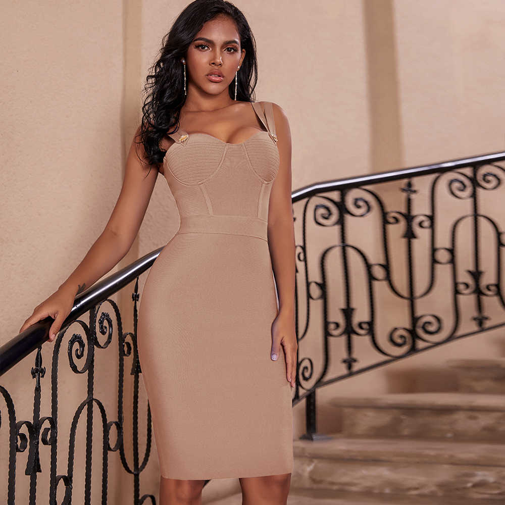 Herten Dame Bandage Jurk 2019 New Arrivals Rode Spaghetti Band Jurk Bodycon Vestidos Winter Bandage Party Jurken Avond