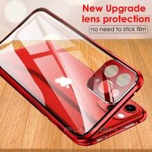 מתכת מגנטי זוגי צד זכוכית טלפון מקרה עבור IPhone 11 פרו XS מקסימום X XR מקרה עבור IPhone 11 עם עדשת סרט הגנה Flip מקרה