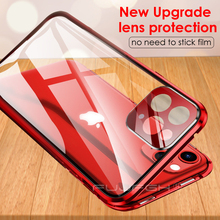 Metal Magnetic Double Side Glass Phone Case for IPhone 11 Pro XS Max X XR Case for IPhone 11 with Lens Film Protection Flip Case