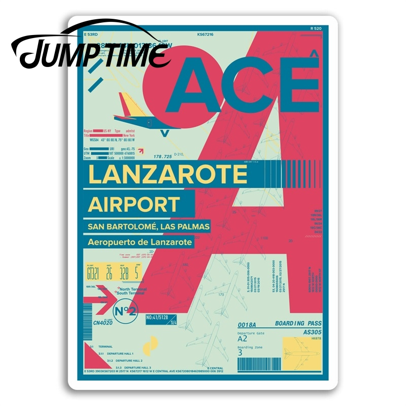 Jump Time For Lanzarote Airport Vinyl Stickers Travel Sticker Laptop Luggage Bumper Trunk Window Decal Car Accessories