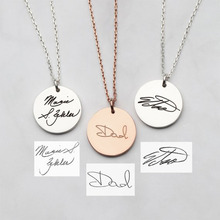 Personality Nameplate Necklace Cursive Handwriting Round Engraved Name Stainless Steel Gold Silver Rose J
