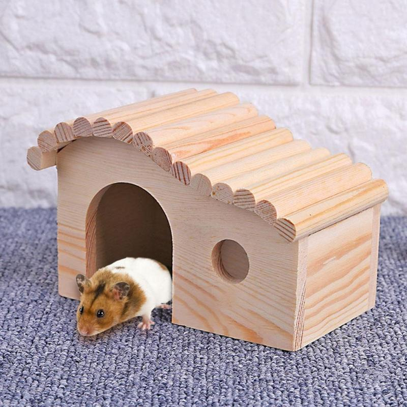 Lovely Wooden Hamster Cottage Waterproof Small Animal Sleeping Nest Hedgehog Cozy House Dodge Assembly Pet Supplies