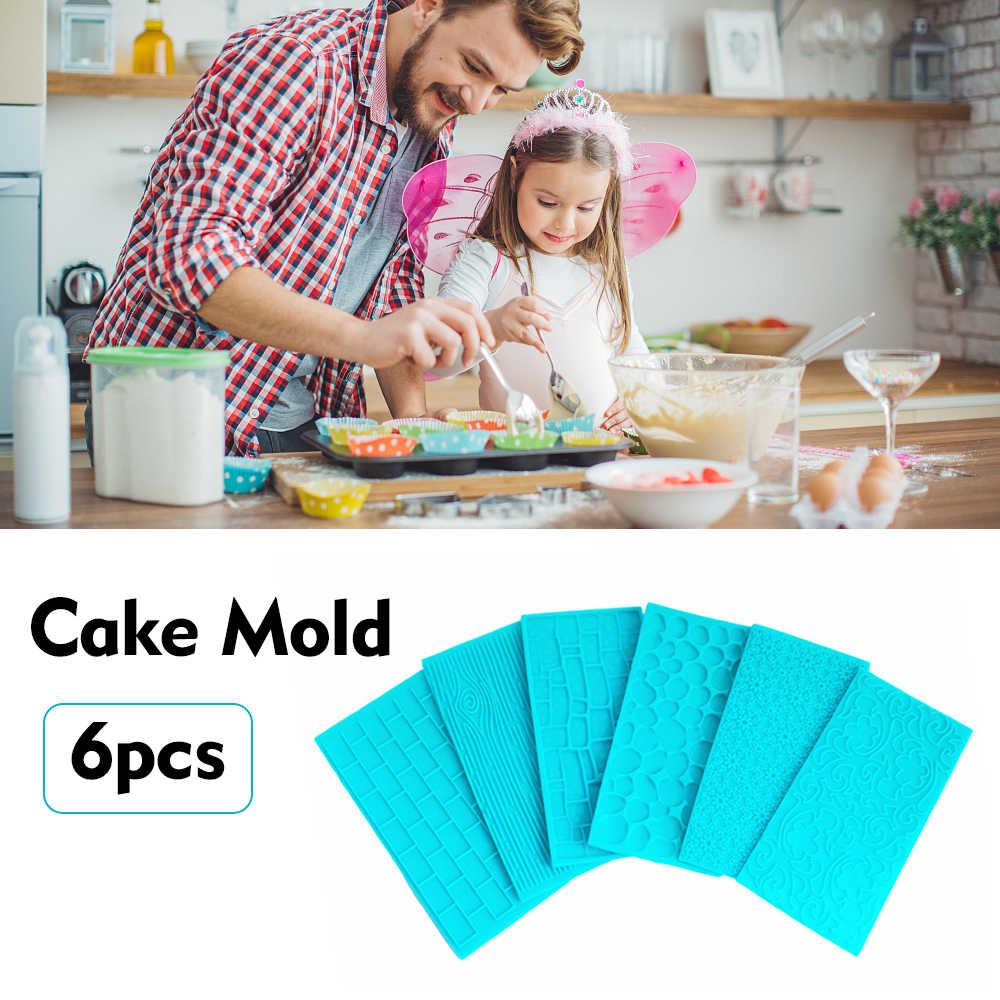 6pcs//Set Cake Mold Silicone Impression Mat Fondant Sugarcraft Chocolate Decor