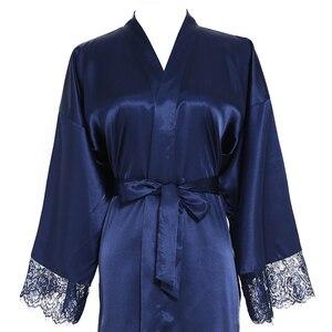 Image 5 - Owiter Long Silk Satin Robe Bridesmaid Robes w/ Lace Trim Robe Bridal Wedding Robe Sleepwear Bathrobe Long Gowns for Women Blue