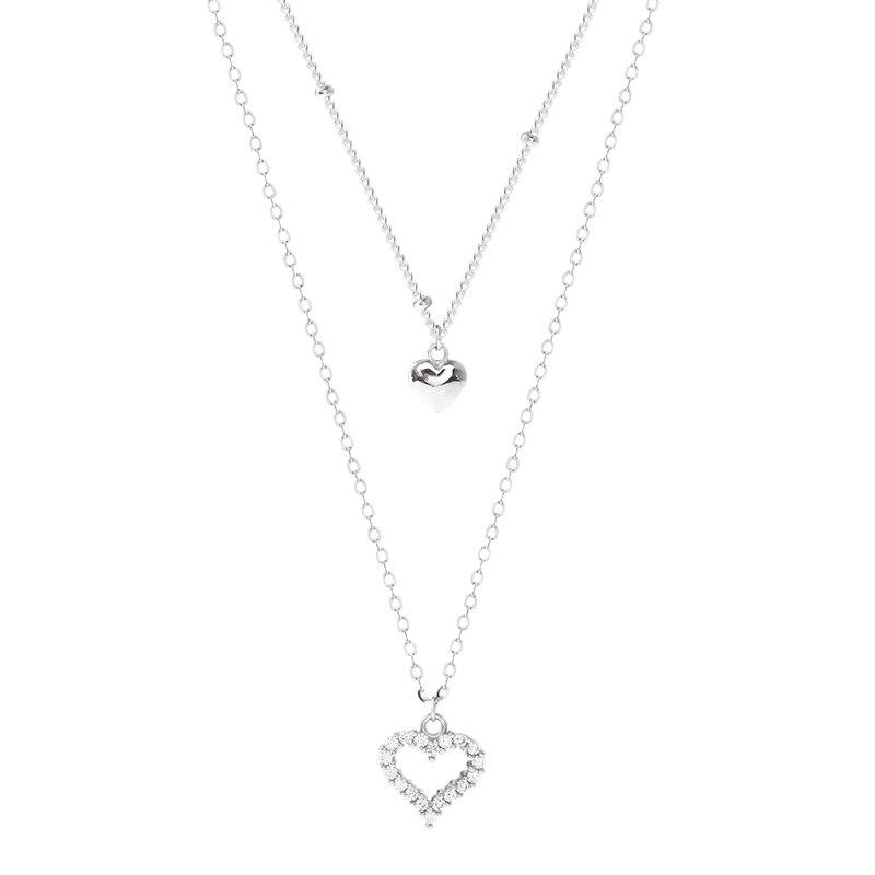 Mujeres Dama de San Valentín Cumpleaños Regalo Doble Amor Corazón Cristal Strass Silver