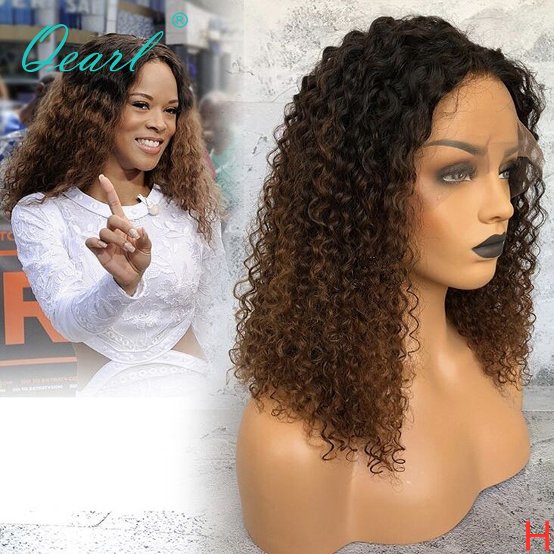 Lace Front Human Hair Wigs Kinky Curly Ombre Color  Pre Plucked Hairline 13x4 150% Density Malaysian Remy Hair Qearl