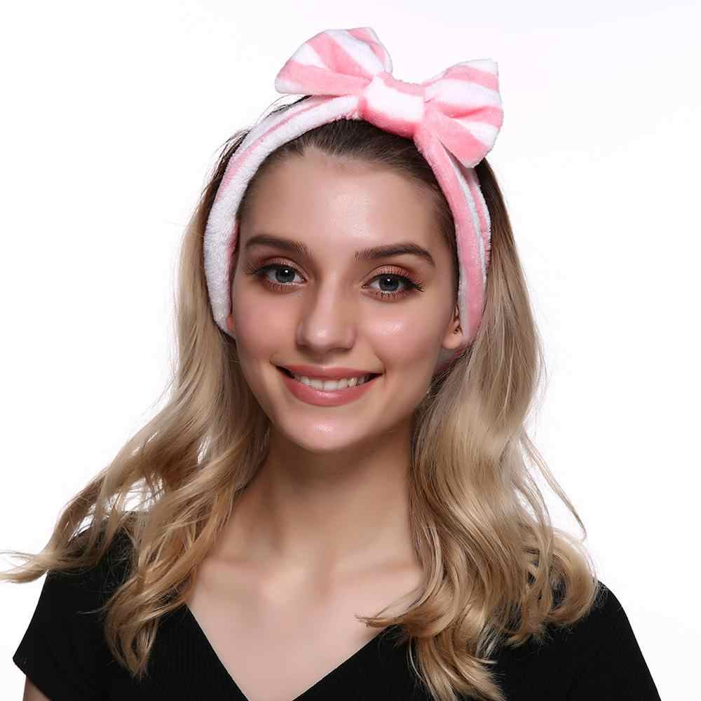 Hot ผู้หญิงล้างหน้าแต่งหน้า Turban Soft Coral Fleece Headband OMG Bow กระต่ายหู Hairband อุปกรณ์เสริมผม Dropshipping