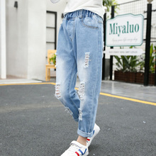 Teenage Girls Jeans 2019 Spring Summer Ripped for Kids Children Broken Hole Pants Denim Trousers Leggings