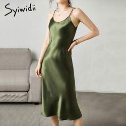 Syiwidii Woman Dress Satin Sleeveless Spaghetti Strap Straight Solid Luxury Shiny Sundress Sexy Imitation Silk Dress Green 2021