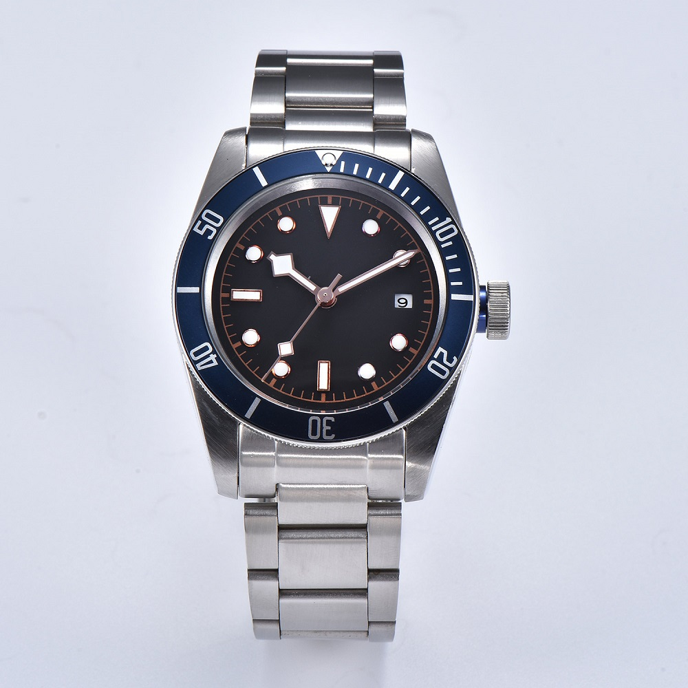 Watch Men 41mm Automatic mechanical watches blue aluminum rotating bezel luminous Military men watch 09