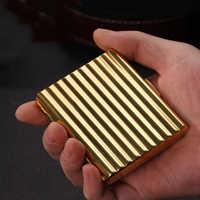 Caja de cobre corrugado para cigarrillos, espejo antiestrés, a prueba de humedad, 20/16/12/10 Sticks, soporte para cigarrillos, caja de almacenamiento delgada para fumar