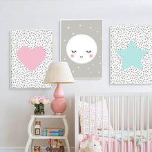 Скандинавские детские розовые сердца Луна Звезда Холст Картина