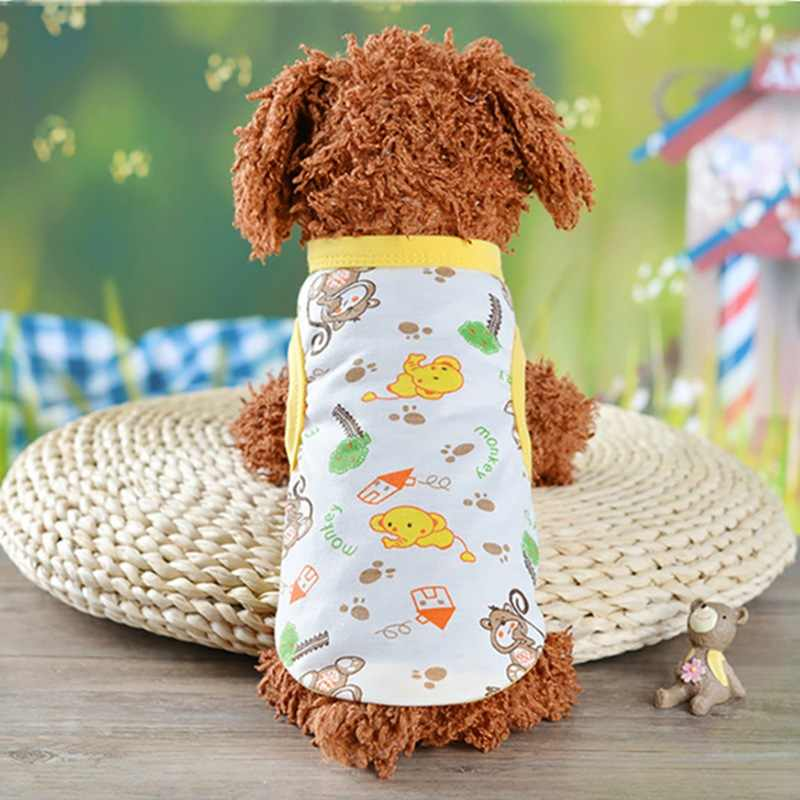 Dog T-shirt Soft Puppy Dogs Clothes Cute Pet Cat Clothes Cartoon Pet Clothing Summer Shirt Casual Vests For Small Pets XS-XXL ZA