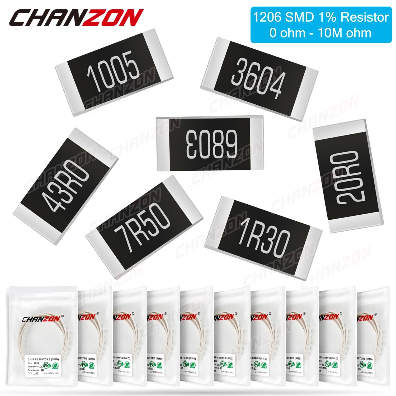 100 Uds SMD 1206 resistencias 0ohm - 10M Ohm 1/4W 1% de la alta precisión Chip de película fijo resistencia 0,01 0,22 4R7 100, 220, 330, 1K, 10K, 300K