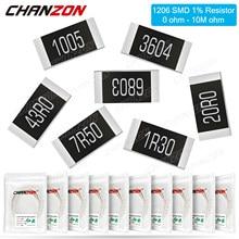 100Pcs SMD 1206 Resistores 0ohm - 10M Ohm 1/4W 1% Filme de Alta Precisão Chip de Resistência Fixa 0.01 0.22 100 220 330 1 4R7 K 10K 300K