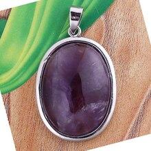 Крафт-бусины Популярные Посеребренные овальной формы натуральные аметисты Фиолетовый кварц камень кулон для украшения на год