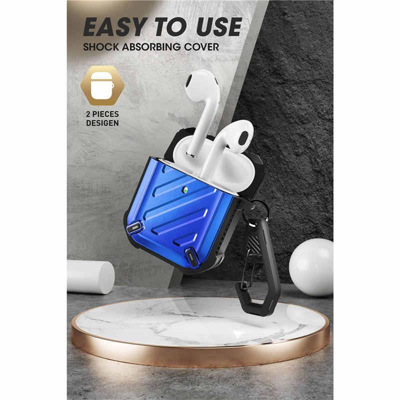 Sucase ub pro caso projetado para airpods 1 & 2, capa protetora de corpo inteiro com mosquetão para apple airpods, 1st & 2nd