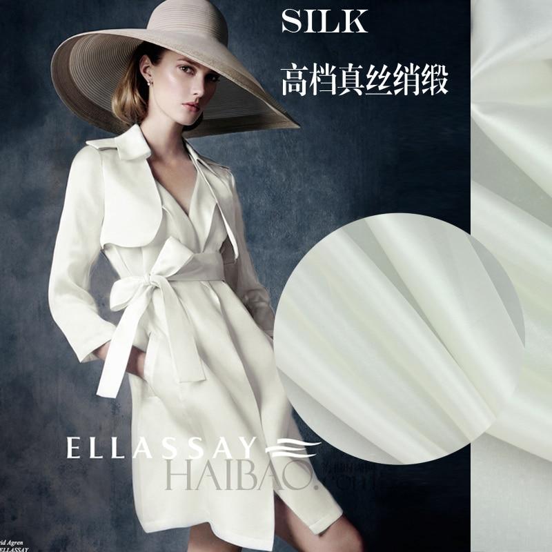 Top grade stiff silk garments silk fabrics white Organza European dress custom