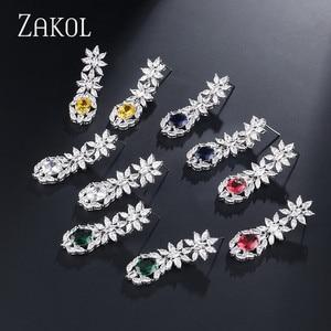 Image 5 - ZAKOL Trendy Style White Color Green Zirconia Bride Wedding Jewelry Set Flower Earrings Necklace For Europe Women FSSP2007