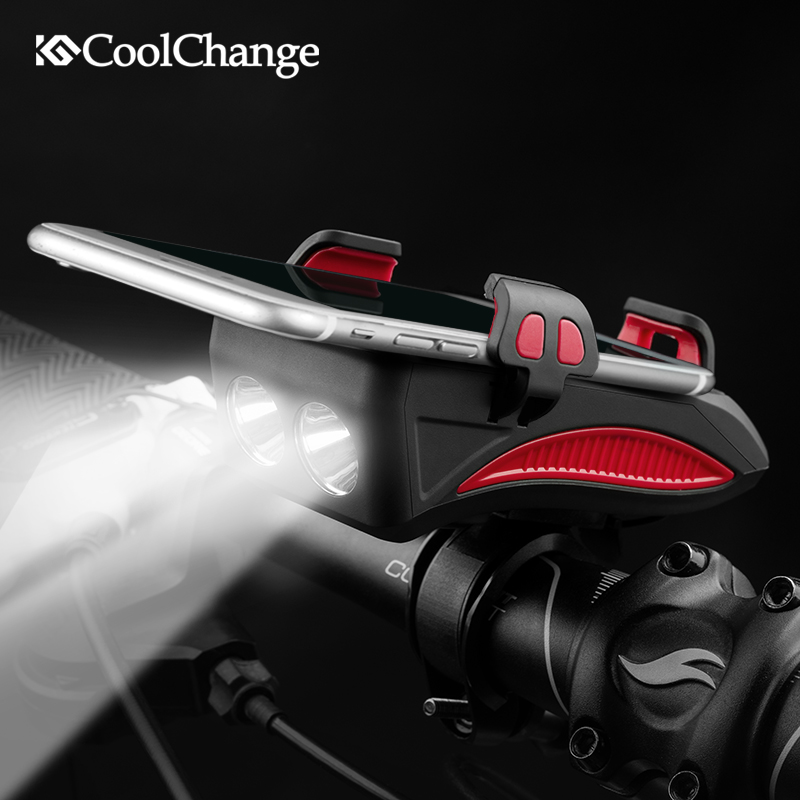 CoolChange Bike Light Cycling Alarm Bell Smart Phone Mount Stand Bicycle Lamp Stand 2000/4000mAh Power Bank Bicycle Front Light