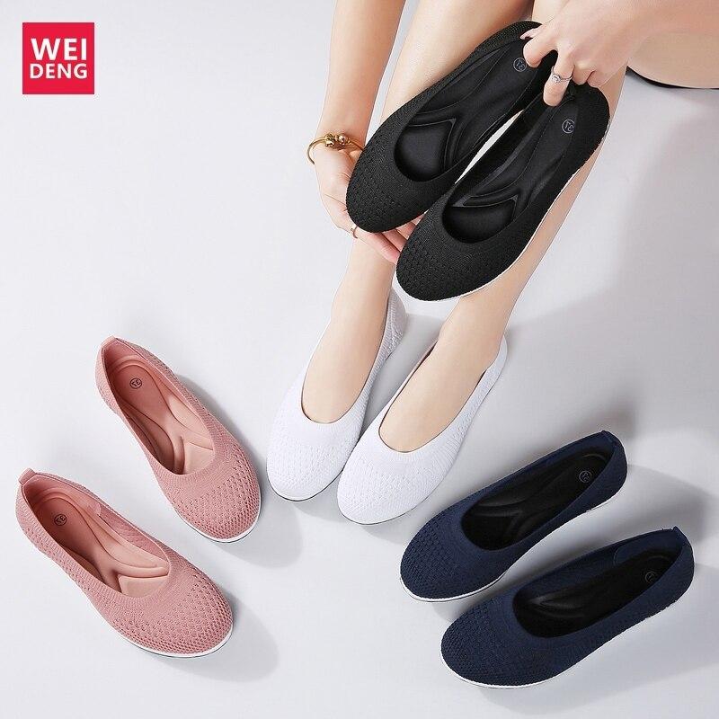 Weideng Machine Wash Casual Fly Kint Prime Woven Mesh Shoes Women Leisure Flat Loafers Cushion Ballet Dance Walking High Quality