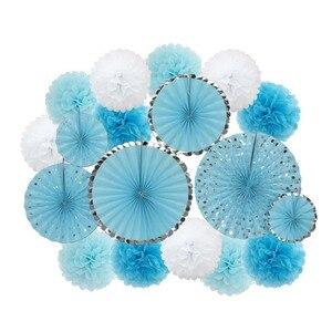 Image 2 - Mi Primera Comunion DIY 18 sztuk/zestaw różowy niebieski papier ozdoby Baby Girl Boy chrzest Party Favor do zawieszenia z papieru rzemiosło Wedding Decor