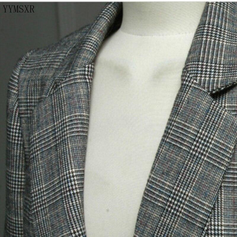 2020 Korean Women's Jacket Feminine Casual elegant checked mid-length ladies suit Stylish slim plus size blazer Female Coat