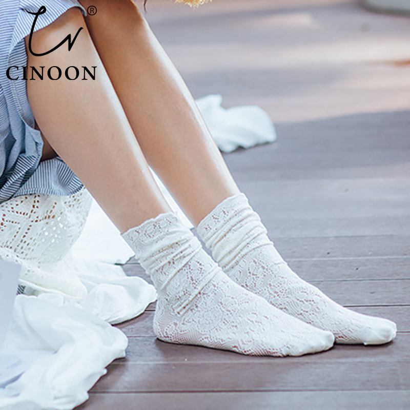 CINOON Harajuku Woman Socks Cotton With Rose Flower Socks Sexy Retro Elastic Comfortable Women's Sock