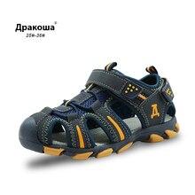 Apakowa borracha fechado toe crianças esportes sandália meninos sandálias de verão das crianças sandálias de praia meninos meninas sandálias para criança