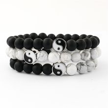 12PCS/LOT Distance Bracelet Classic Natural Stone White and Black Yin Yang Beaded Bracelets for Men Women Best Friend(China)