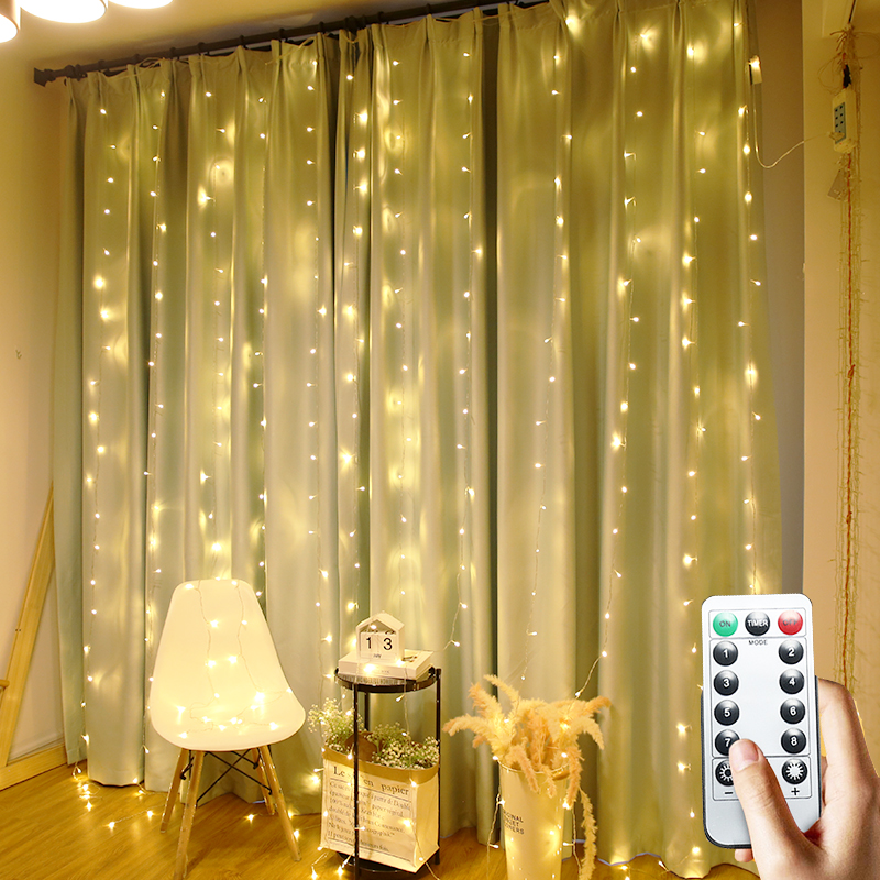 LED String Light Xmas Garland 2/3/6M Remote LED Fairy Icicle Twinkle Lights For New Year Home Curtain Window Outdoor Decoration