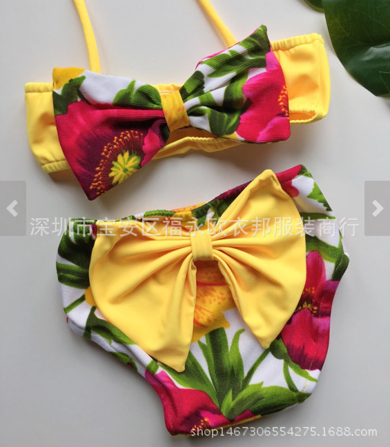 Hot Selling GIRL'S Bikini Bathing Suit Two-Piece Set Large Bow Flower Printed Summer Cool Dress