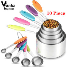 Venlohome 10 pçs conjunto de medição de aço inoxidável empilhável copos medição colheres conjunto para o cozimento chá café cozinha ferramentas