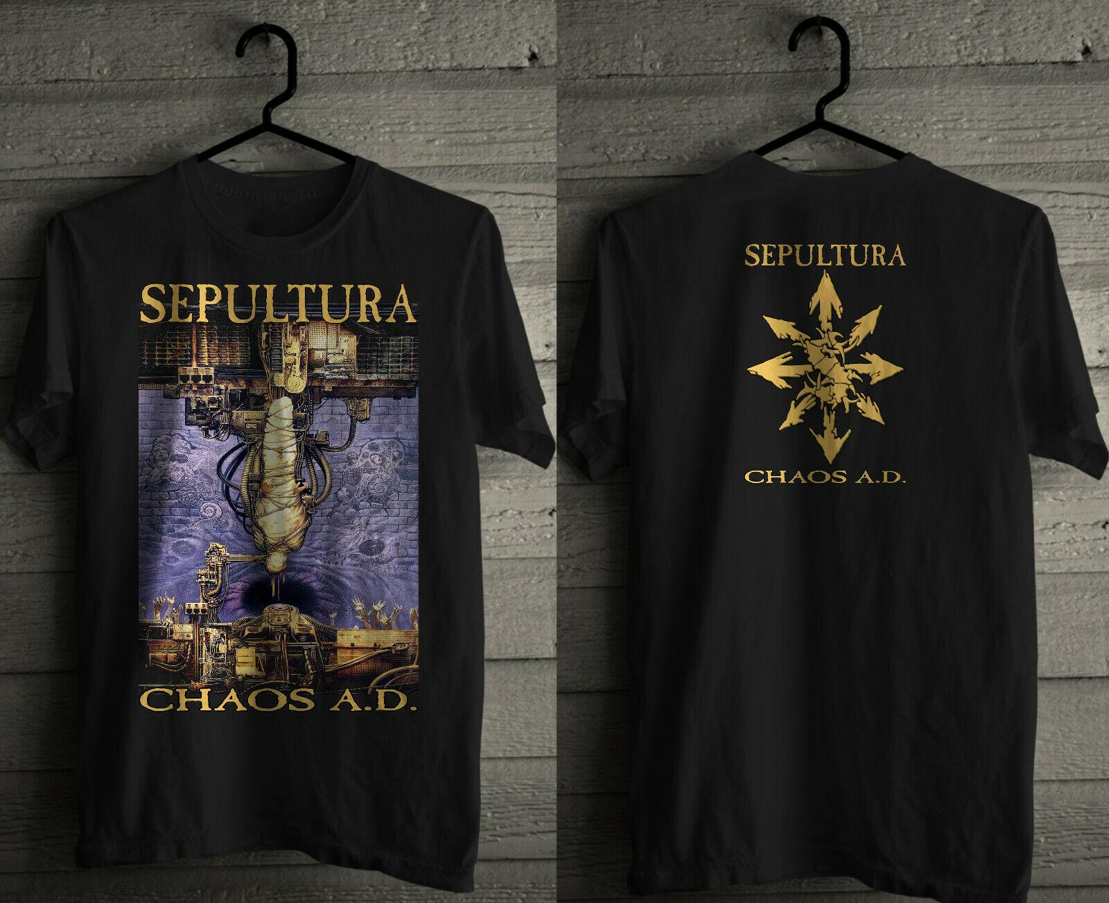 SEPULTURA CHAOS A D NEW MEN'S BLACK T SHIRT SLAYER PANTERA SOULFLY KREATOR  2019 New Short Sleeve