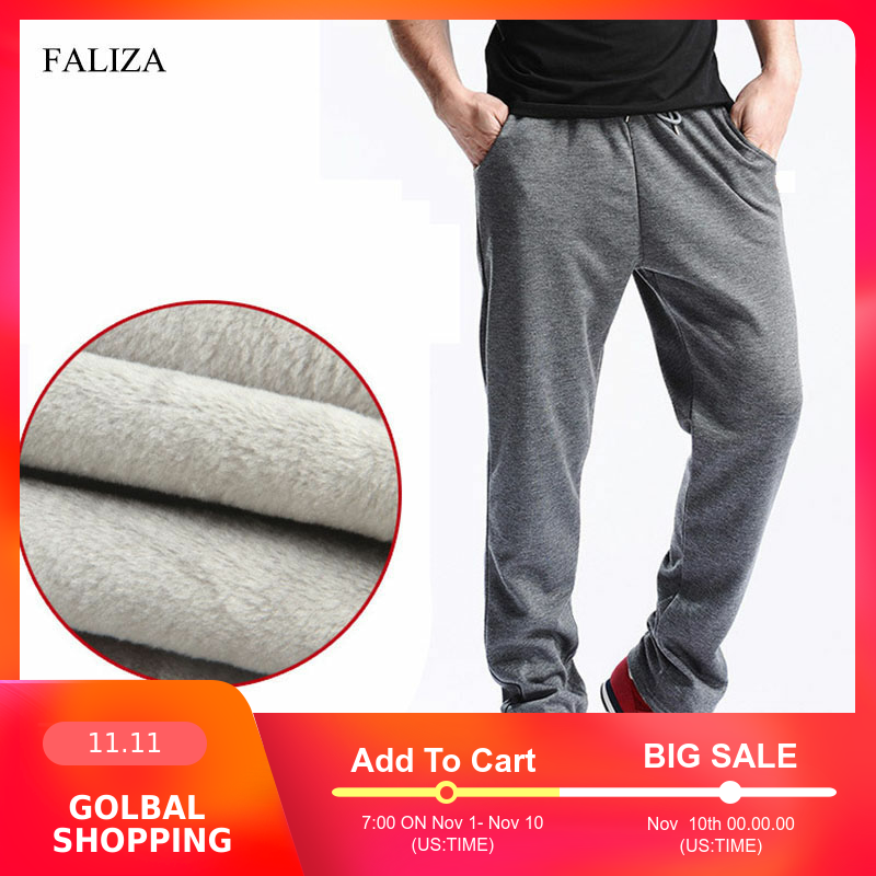 FALIZA 2019 New Men's Winter Pants Thick Fleece Jogger Straight Mens Pants Mirco Velvet Sweatpants Men Joggers Casual Pants CK-D