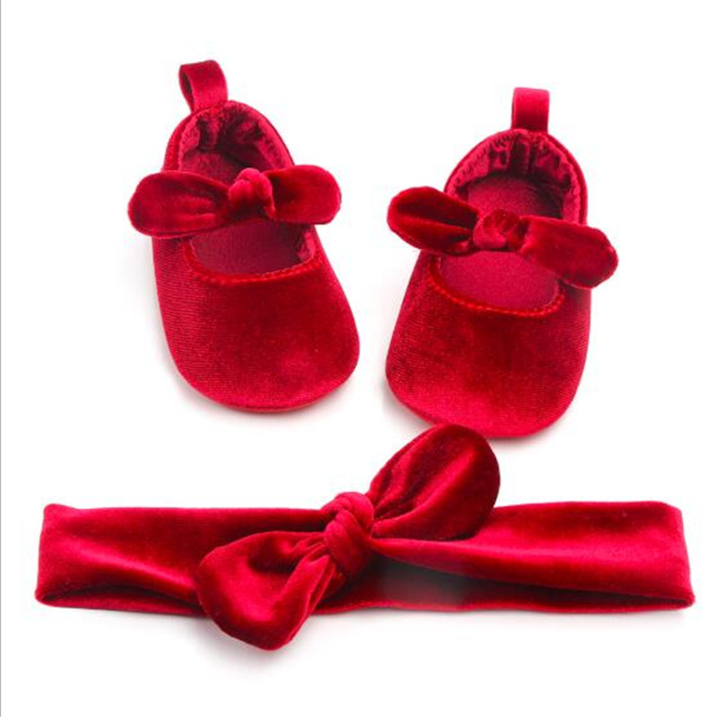 New Baby Girls Shoes Soft Sole Newborn Crib Shoes Infants Bow Princess Shoes+Headband 2Pcs Set Girls Cute Party First Walkers