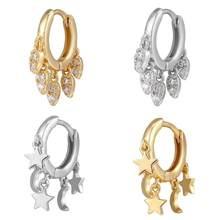 HECHENG, маленькие круглые серьги-кольца для женщин, серьги в форме звезды и Луны из кубического циркония, женские крупные украшения