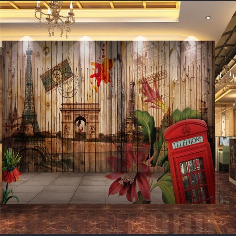 Dropship Photo Wallpaper 3D Wood Grain European American Oil Painting Paris Building Restaurant Backdrop Wallpaper Custom Mural