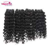 Malaysian Jerry Curly Wave Weave Hair 4 Bundles 190g/ Pack Remy Curly Human Hair Bundles 3 Colors #1B #2 #4