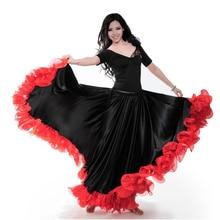 Испанская коррида, праздничная танцевальная юбка фламенко для женщин, высокое качество, Пламенный цветочный принт размера плюс, Женская юбка для бальных танцев